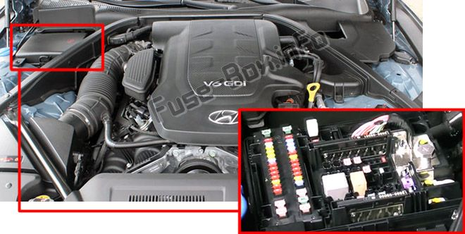 The location of the fuses in the engine compartment: Hyundai Genesis (2014-2019)