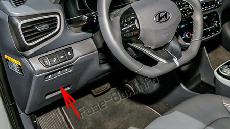 The location of the fuses in the passenger compartment (LHD): Hyundai Ioniq Plug-in Hybrid (2017-2019-...)