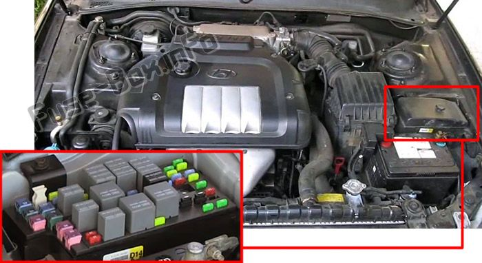 The location of the fuses in the engine compartment: Hyundai Sonata (2002, 2003, 2004)