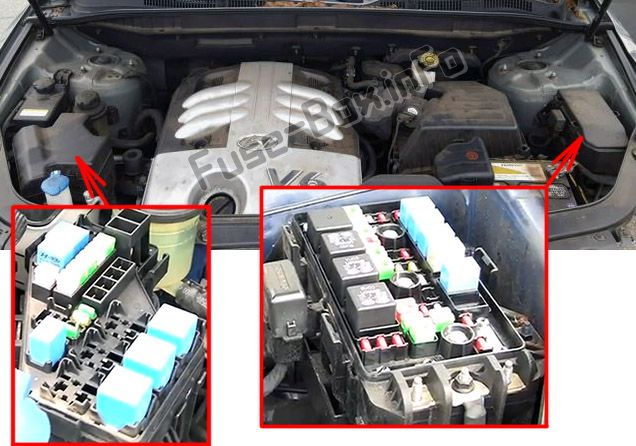 The location of the fuses in the engine compartment: Hyundai Veracruz / ix55 (2007-2011)
