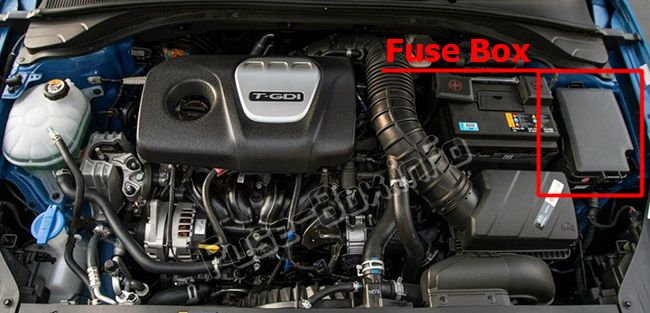 The location of the fuses in the engine compartment: Hyundai i30 (2018, 2019-...)