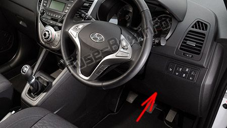 The location of the fuses in the passenger compartment (RHD): Hyundai ix20 (2011-2018)