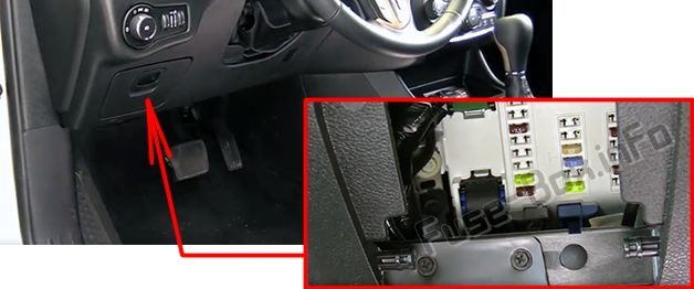 The location of the fuses in the passenger compartment: Jeep Cherokee (2014-2019)