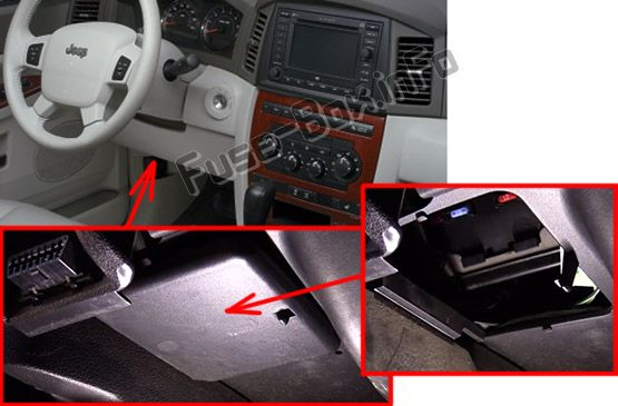 The location of the fuses in the passenger compartment: Jeep Grand Cherokee (2005-2010)
