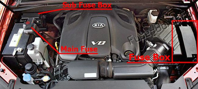 The location of the fuses in the engine compartment: KIA Borrego / Mohave (2009-2017)