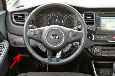 The location of the fuses in the passenger compartment (LHD): KIA Carens (2014-2019-...)
