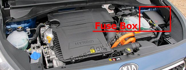 The location of the fuses in the engine compartment: KIA Niro (2017, 2018, 2019-...)