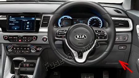 The location of the fuses in the passenger compartment (RHD): KIA Niro (2017, 2018, 2019-...)