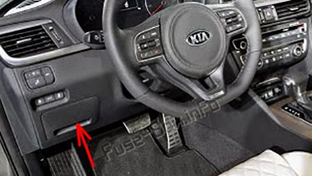 The location of the fuses in the passenger compartment (LHD): KIA Optima (2016-2019-...)