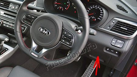 The location of the fuses in the passenger compartment (RHD): KIA Optima (2016-2019-...)