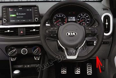 The location of the fuses in the passenger compartment (RHD): KIA Picanto (2018, 2019-...)