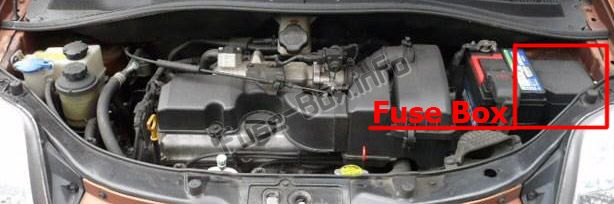 The location of the fuses in the engine compartment: KIA Picanto (2004-2007)