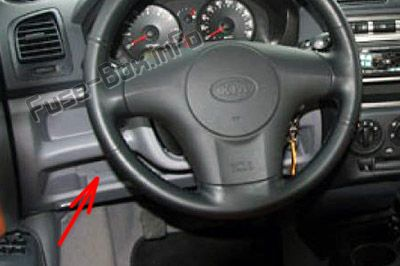 The location of the fuses in the passenger compartment (LHD): KIA Picanto (2004-2007)