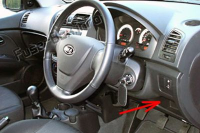 The location of the fuses in the passenger compartment (RHD): KIA Picanto (2004-2007)