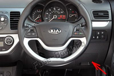 The location of the fuses in the passenger compartment (RHD): KIA Picanto (2012-2017)