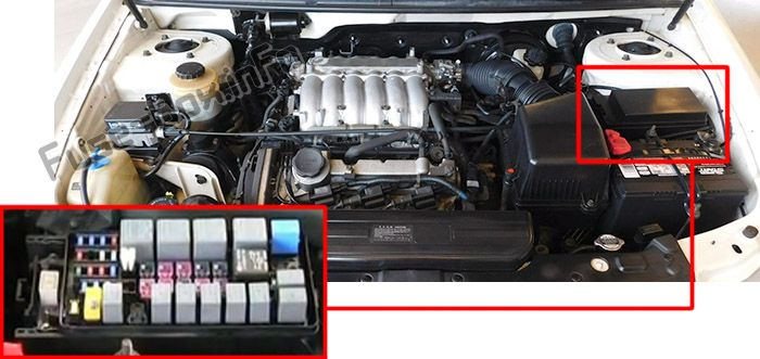 The location of the fuses in the engine compartment: KIA Sedona (2002-2005)