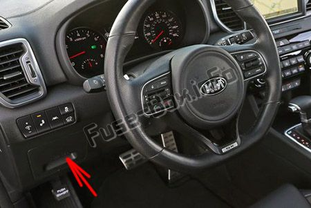 The location of the fuses in the passenger compartment (LHD): KIA Sportage (2017, 2018, 2019-...)