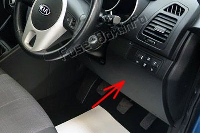 The location of the fuses in the passenger compartment (RHD): KIA Venga (2010-2016)