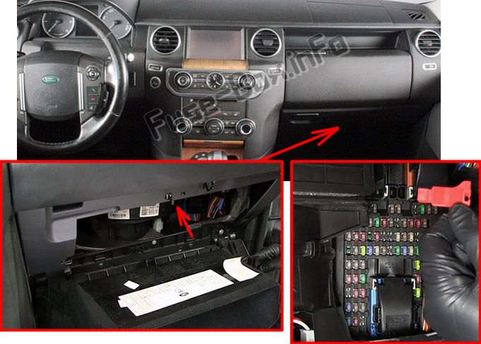 The location of the fuses in the passenger compartment: Land Rover Discovery 4 / LR4 (2009-2016)
