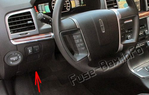The location of the fuses in the passenger compartment: Lincoln MKZ Hybrid (2011, 2012)