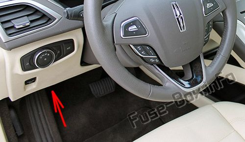 The location of the fuses in the passenger compartment: Lincoln MKZ Hybrid (2013-2016)
