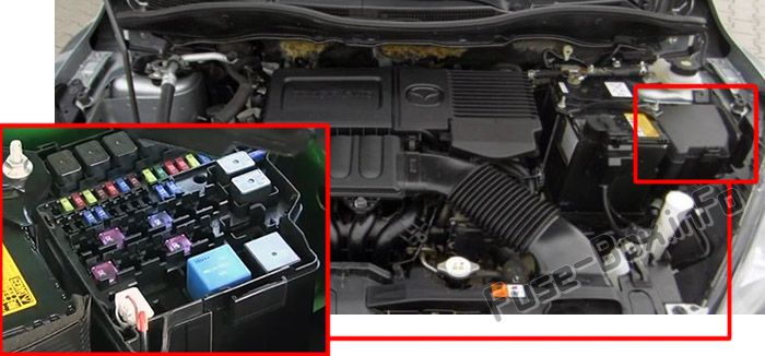 The location of the fuses in the engine compartment: Mazda 2 (2011-2014)