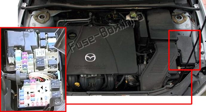 The location of the fuses in the engine compartment: Mazda 3 (2003-2009)