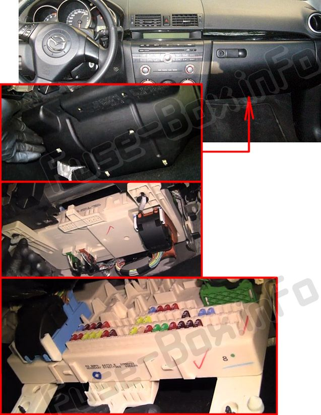 The location of the fuses in the passenger compartment: Mazda 3 (2003-2009)