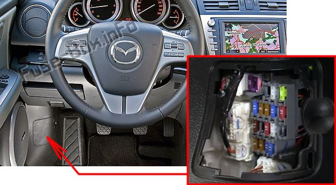 The location of the fuses in the passenger compartment: Mazda 6 (2009, 2010, 2011, 2012)