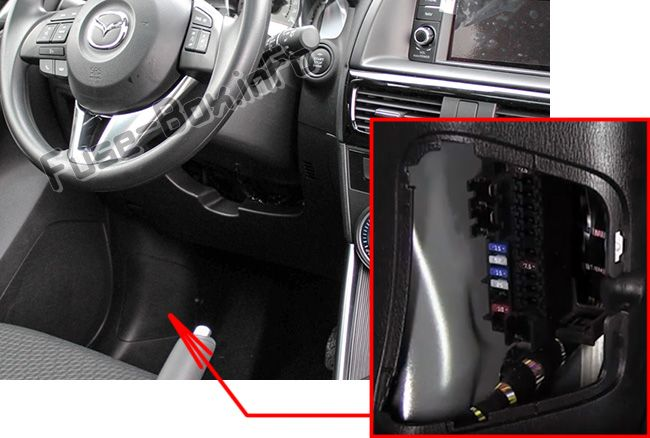The location of the fuses in the passenger compartment: Mazda CX-5 (2013, 2014, 2015, 2016)
