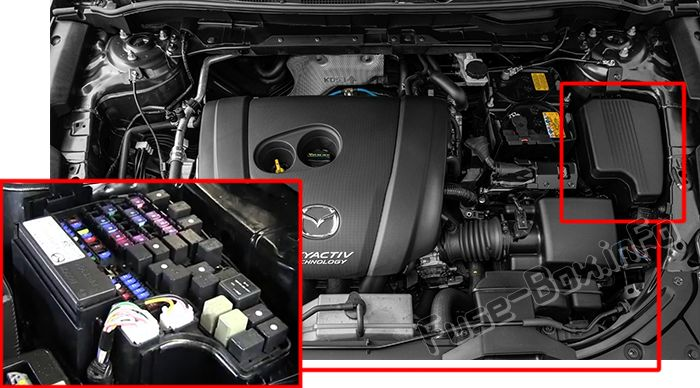 The location of the fuses in the engine compartment: Mazda CX-5 (2017, 2018, 2019-...)