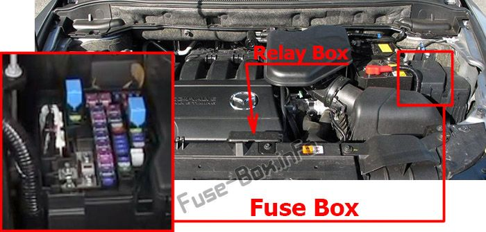 The location of the fuses in the engine compartment: Mazda CX-9 (2007-2015)