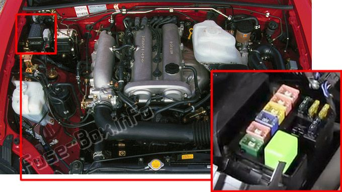The location of the fuses in the engine compartment: Mazda MX-5 Miata (2002, 2003, 2004, 2005)
