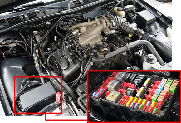 The location of the fuses in the engine compartment: Mercury Marauder (2003, 2004)