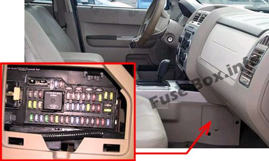 The location of the fuses in the passenger compartment: Mercury Mariner (2008-2011)