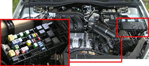 The location of the fuses in the engine compartment:Mercury Milan (2006-2011)