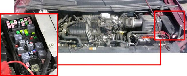 The location of the fuses in the engine compartment: Mercury Monterey (2004-2007)