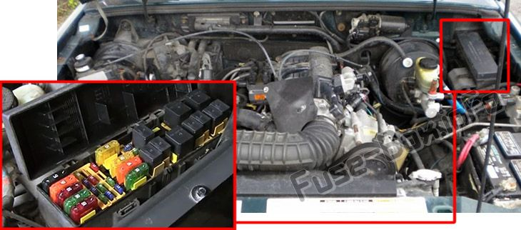 The location of the fuses in the engine compartment: Mercury Mountaineer (1997-2001)