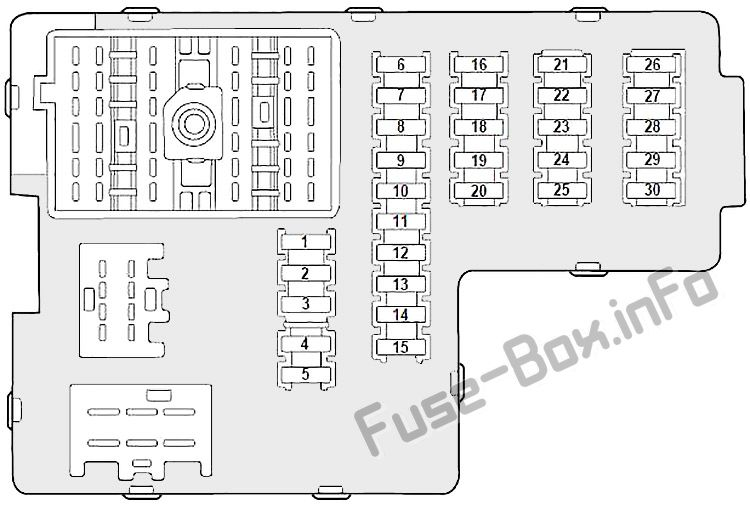 Interior fuse box diagram: Mercury Mountaineer (2002, 2003, 2004, 2005)
