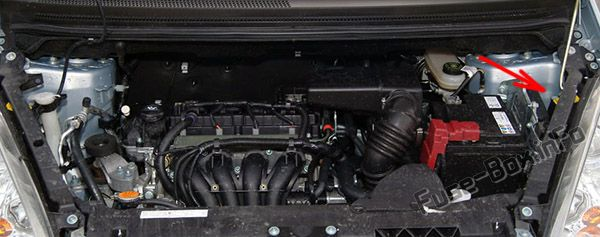 The location of the fuses in the engine compartment: Mitsubishi Colt (2005-2012)