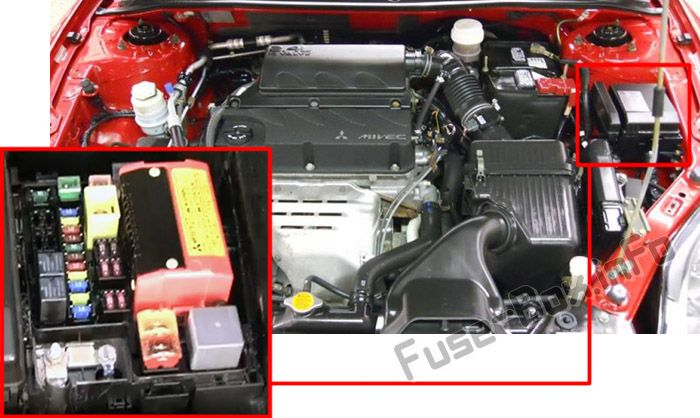 The location of the fuses in the engine compartment: Mitsubishi Eclipse (2006-2012)