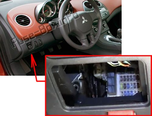 The location of the fuses in the passenger compartment: Mitsubishi Eclipse (2006-2012)