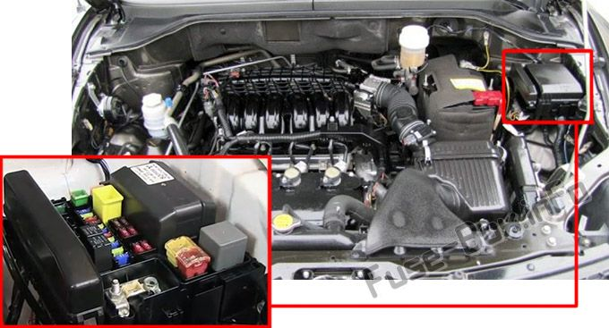 The location of the fuses in the engine compartment: Mitsubishi Endeavor (2004-2011)