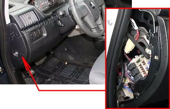 The location of the fuses in the passenger compartment: Mitsubishi Endeavor (2004-2011)
