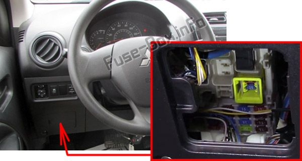 The location of the fuses in the passenger compartment: Mitsubishi Mirage (2014-2018)