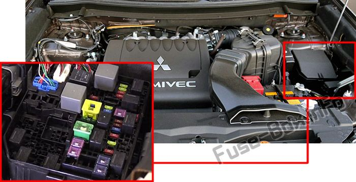 The location of the fuses in the engine compartment: Mitsubishi Outlander (2014-2018)