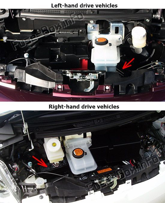 The location of the fuses in the engine compartment: Mitsubishi i-MiEV (2011-2018)
