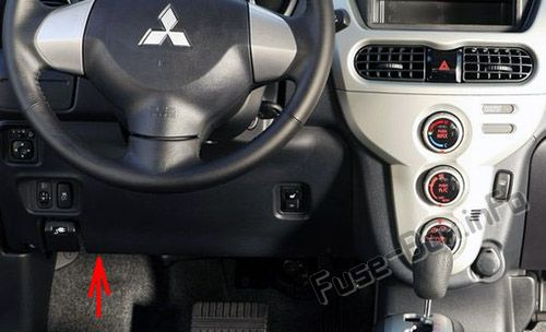 The location of the fuses in the passenger compartment: Mitsubishi i-MiEV (2011-2018)