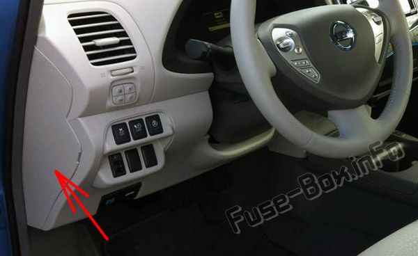The location of the fuses in the passenger compartment: Nissan Leaf (2010-2017)