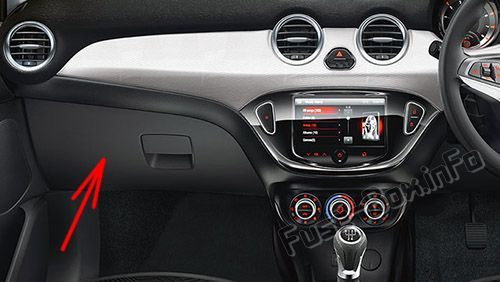 The location of the fuses in the passenger compartment (RHD): Opel / Vauxhall Adam (2014-2018-...)